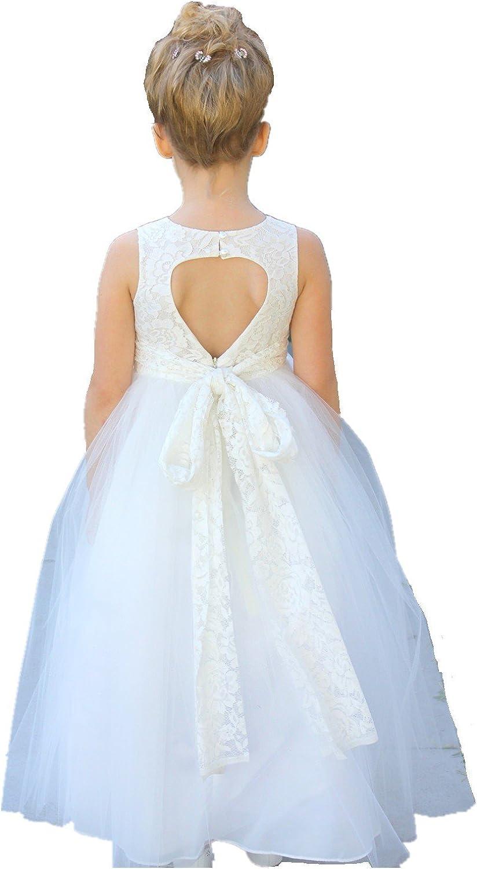 ekidsbridal Navy Blue Floral Lace Heart Cutout Flower Girl Dresses Formal Flower Girl Dress Pageant Dresses 172