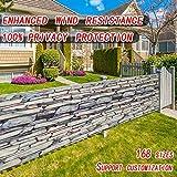Ziligengsheng Sichtblende Balkonstoff 55x400cm,Wind- und UV-Schutz,Balkonbespannung mit Ösen und Kordel,für den Gartenzaun oder Balkon, Stein-Optik