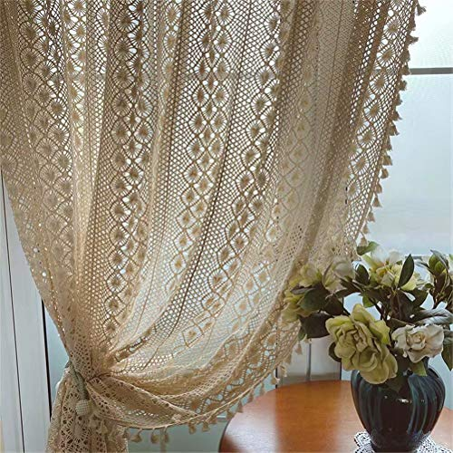 """Muccyy Boho Chic Crochet Geometry Knitting Cotton Linen Window Curtains Farmhouse Retro Rod Pocket Beige Drapes Sheer Curtains for Bedroom Living Room, 1 Piece,55"""" W×63'L"""