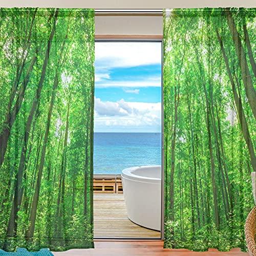 Sheer Voile Cortina De Ventana Tropical Bosque De Árboles Verde Patrón Impresión Poliéster Material Tela Para Dormitorio Decoración Hogar Puerta Decoración Cocina Salón 2 Paneles 78 X 55 Pulgadas