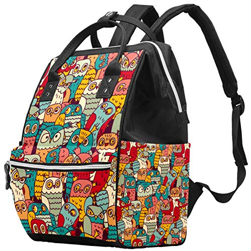 Mummy Changing Bag Backpack Vintage Owls Birds Face Pattern Multi-Function Waterproof Diaper Travel Backpack for Baby Care