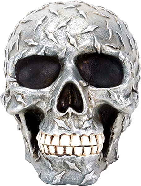 3 75 Inch Diamond Metal Plate Skull Head With Closed Mouth