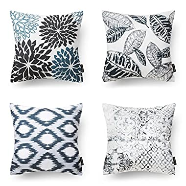 PHANTOSCOPE New Living Series Black Decorative Throw Pillow Case Cushion Cover 18  x 18  Set of 4