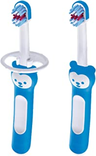 MAM Baby Toothbrushes (2 Baby's Brushes and 1 Safety Shield), Toothbrushes with Brushy The Bear Character, Interactive App...