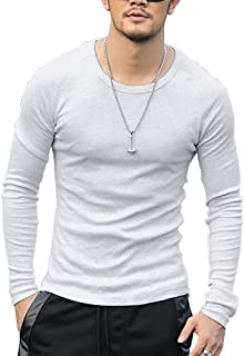[ミックスリミテッド] ロンT 長袖Tシャツ メンズ タイト ラグラン 無地 Uネック コットン カットソー