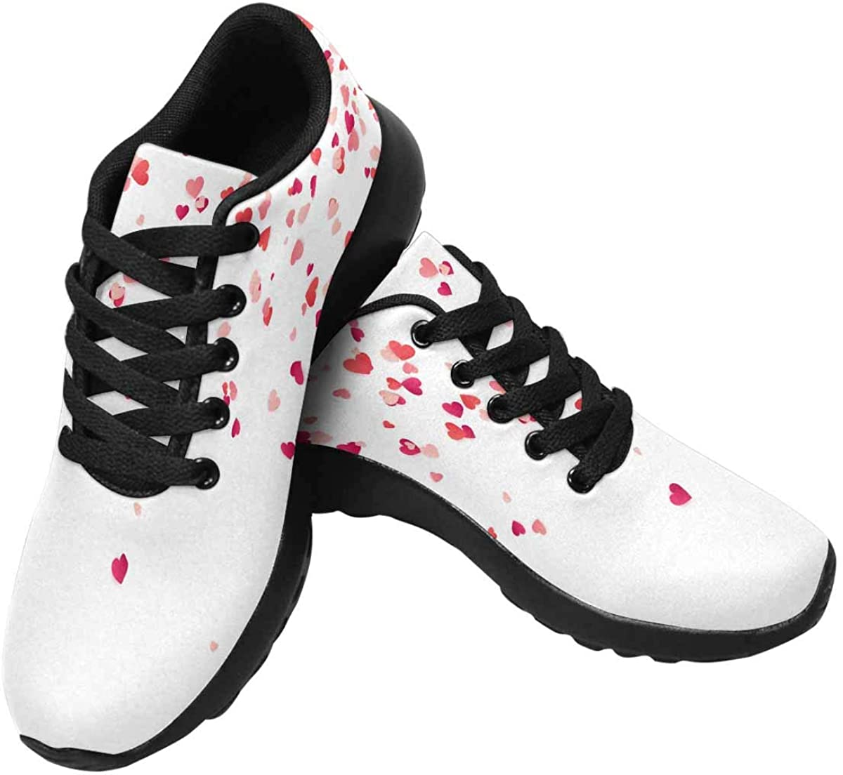 InterestPrint Valentines, Red and Pink Hearts Women's Running Shoes - Casual Breathable Athletic Tennis Sneakers