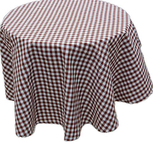 Pflegeleichte Tafeldecke Decke Unterdecke Braun Weiß Karierte Gartendecke Küchendecke Landhaus (Tischdecke rund 150 cm Durchmesser)