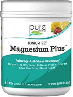 Pure Essence Labs Ionic Fizz Magnesium Plus - Calm Sleep Aid and Natural Anti Stress Supplement Powder - Raspberry Lemonad...