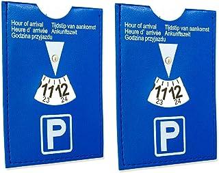 2 x auto parkeerschijf parkeermuur korte parkeerzone van kunstleer in 11 x 15 cm geen rammelen.