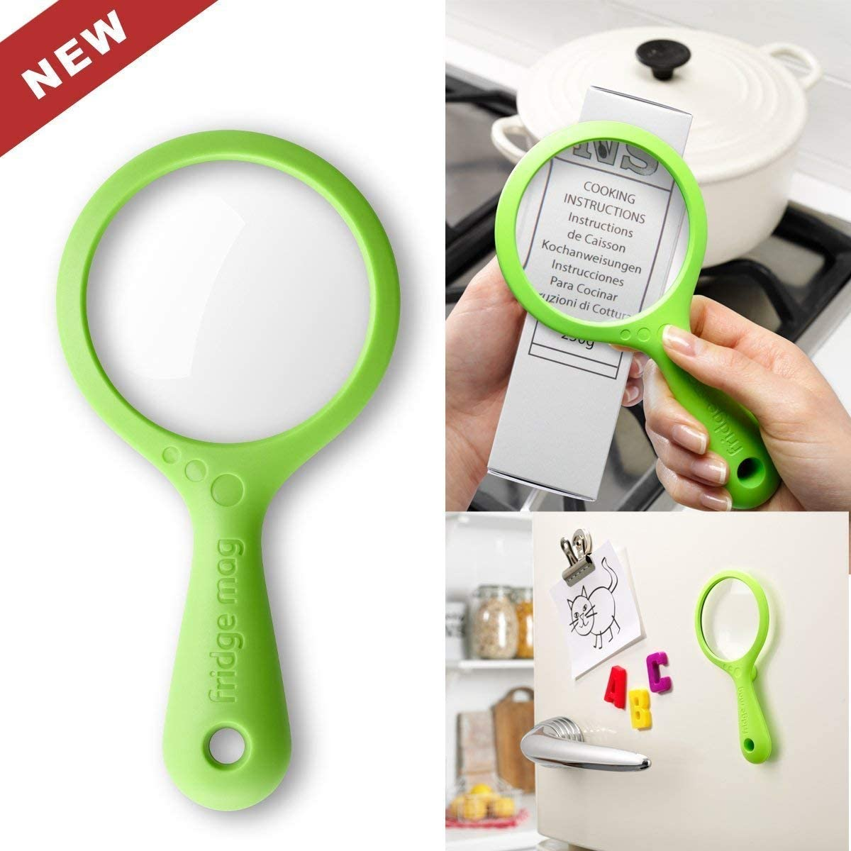 Green 1.9 x 8.5 x 17 cm New Soda Fridge Mag Magnetic Magnifying Glass
