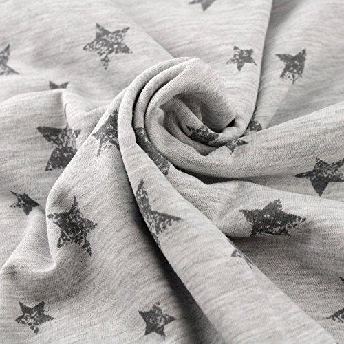 Neumann Handelsvertrieb Jersey Stoff 100% Baumwolle 165 cm Breit (100 x 165 cm, Sterne Grau Groß)