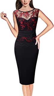 Womens Floral Lace Embroidered Cocktail Party Bodycon Sheath Dress