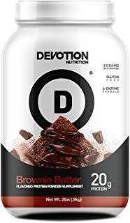 Devotion Nutrition Whey Protein Powder Blend, Brownie Batter Flavor, 20g Protein, No Added Sugars, 2lb Tub, Packaging May ...