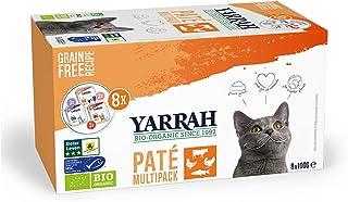 YARRAH Paquete de alimentos orgánicos para gatos – Menú variado para tu gato con tres sabores de paté sin granos – para to...