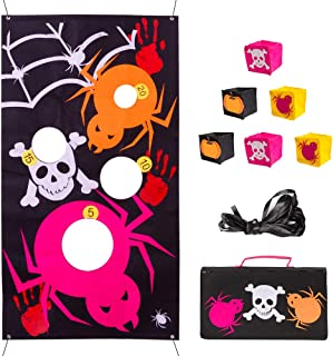 HOHOTIME Halloween Bean Bag Toss Game with 6 Bean Bags, Upgrade 4 Cave Spider Web Bean Toss Bags Halloween Toss Game for Kid Adult Party Decoration