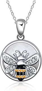 """YFN Sterling Silver Bumblebee Pendant Necklace """"Bee yourself"""" Jewelry Gift for Women"""
