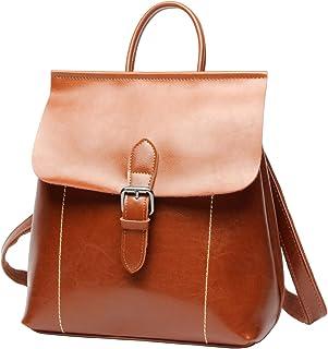 LUUFAN Vintage Öl Wachs Leder Rucksack Schultasche Casual Reise Daypack für Frauen Mädchen