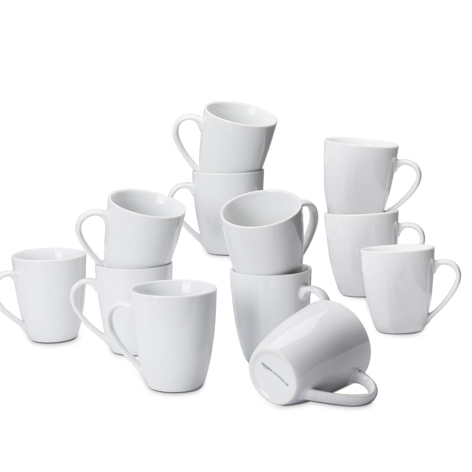 In stock AmazonCommercial 12-Piece Porcelain 12 Ranking TOP14 Oz. Coffee Whit Mug Set