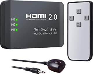 VinTeam HDMI Switch 3 Ports HDMI 2.0 Switcher Support 4K@60Hz YUV 4:4:4 and HDR HDMI Hub with IR Remote for Blu-ray One X ...