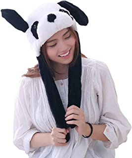 Bestmaple Cute Panda Hat Funny Plush Hat for Kid and Adult with Moving Ears When Pressing The Paws