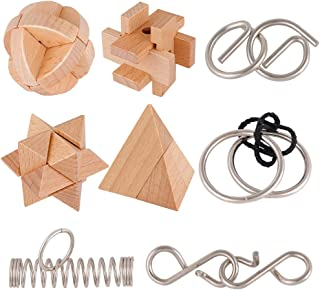 Coogam Brain Teasers Metal and Wooden Puzzles, IQ Test Disentanglement 3D Iron Link Interlock Jigsaw Game Educational Toys for Party Favor Kids Adults Challenge