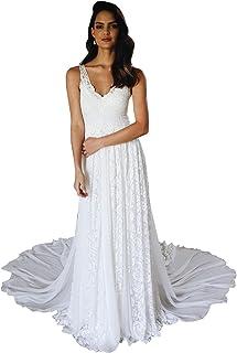 f1999513fc01 dressvip Abito da Sposa in Pizzo Stile Bohemien appliquettato da Spiaggia con  Abito da Sposa con