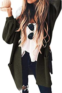 Womens Open Front Long-Sleeves Boho Knit Chunky Cardigan Sweater