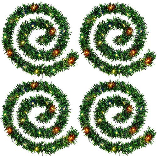 WILLBOND 4 Strands Christmas Garland 72 Feet Artificial Pine Garland Soft Greenery Garland with 4 Pieces 160 LED String Lights for Christmas, Holiday, Wedding Party Decoration (Green, Multicolor)