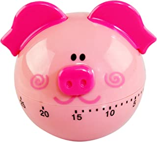 """HOME-X Pig Timer, 60-Minute Countdown Clock, Kitchen Timer Accessories- Pink- 2 ½"""" D"""
