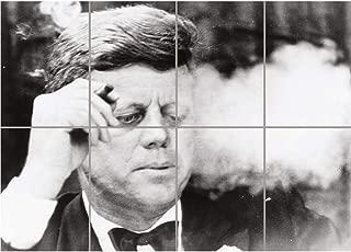 PANEL ART PRINT VINTAGE PHOTOGRAPH B&W JFK KENNEDY PORTRAIT SMOKING CIGAR REPRODUCTION POSTER OZ4713