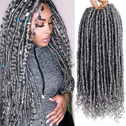 Faux Locs Crochet Hair 6Packs Goddess Locs With Curly Ends Dreadlocks Hair 18Inch Kanekalon Synthetic Crochet Braiding Hair Extension(1B-GRAY)
