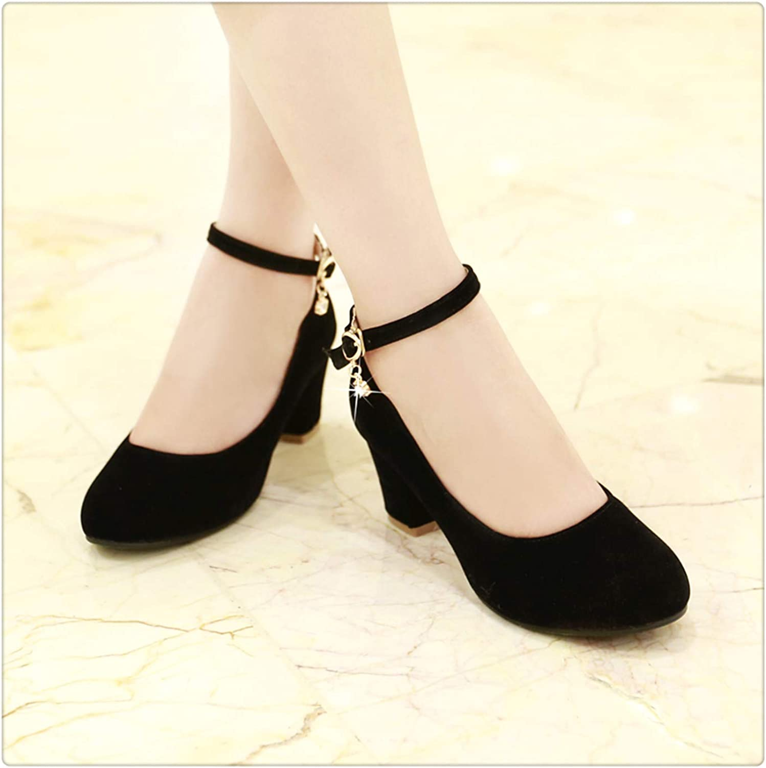 Dmoshibei High Heels Sexy New Square Heel Autumn Flock Shallow Buckle Party Wedding shoes