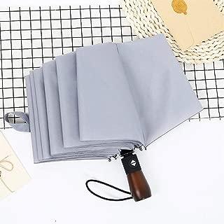 YWSCXMY-AU Women's Automatic Three Fold Folding Rain and UV Umbrella, 10 Bone Wooden Handle Portable Umbrella (Color : Gray)