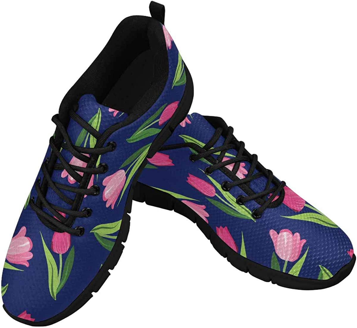 InterestPrint Romantic Tulips Women's Running Shoes Mesh Breathable Sports Casual Shoes