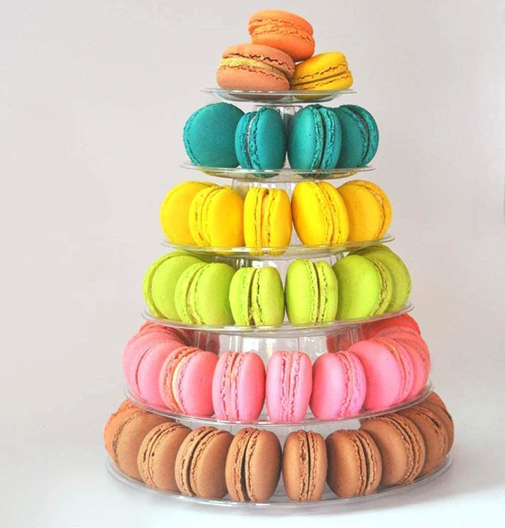 Fashionclubs 6 Tier Round Cake Stand Macaron Tower, Plastic Tier