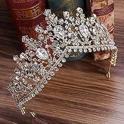 Gold Luxurious Rhinestone Bridal Crown Tiara