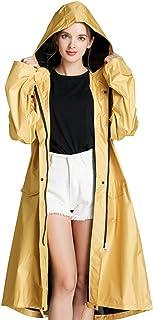 Nobrand Women's Long Thick Rain Coat Stylish Waterproof Raincoat Rain Poncho Cape with Hood Sleeves and Pocket
