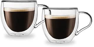 Godinger Double Wall Espresso Coffee Glass Mug- Set of 2