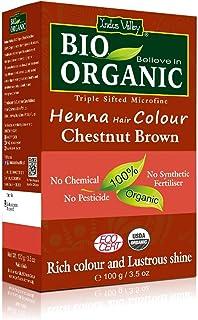 (Chestnut Brown) - Indus Valley Bio Organic Natural Chestnut Brown Henna Hair Colour For Grey Hairs -100gm
