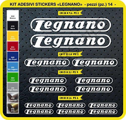 Adesivi Bici LEGNANO Kit Adesivi Stickers 14 Pezzi -Scegli SUBITO Colore- Bike Cycle pegatina cod.0102 (Bianco cod. 010)