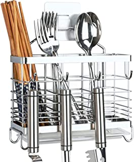 SUS 304 Stainless Steel Hanging 3 Compartments Mesh Utensil Drying Rack/Chopsticks/Spoon/Fork/Knife with Removable Drainer tray (Square)
