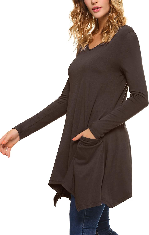 iClosam Women V-Neck Long Sleeve Asymmetric Hem Tunic Tops Blouse with Pockets