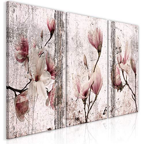 murando - Bilder Blumen Magnolien 120x60 cm Vlies Leinwandbild 3 TLG Kunstdruck modern Wandbilder XXL Wanddekoration Design Wand Bild - Betonoptik Natur b-C-0374-b-q