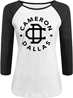 CALZ Lady Cameron Dallas Logo Three-Quarter Sleeve Crew Neck T Shirt