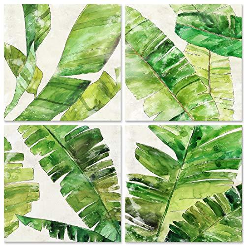 CUFUN Art - Hoja de plátano Verde se Imprime en Lienzo para Cornualles Daun Pisang imágenes de la Planta de Arte de la Pared decoración (30x30cmx4pcs)