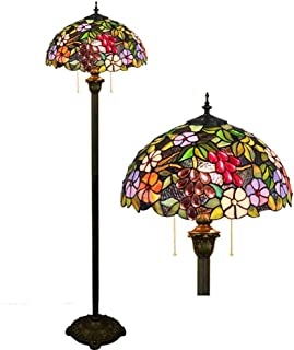 - Tiffany European Retro Creative Stained Glass Grape Flower Garden Lamp for Living Room Restaurant 16 Inch