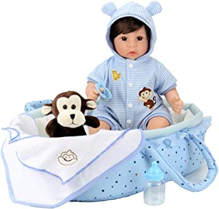 Aori Reborn Baby Doll 18 inch Lifelike Baby Boy Doll with Monkey Gift Sets-8-Piece with a Baby Carrier/Bassinet