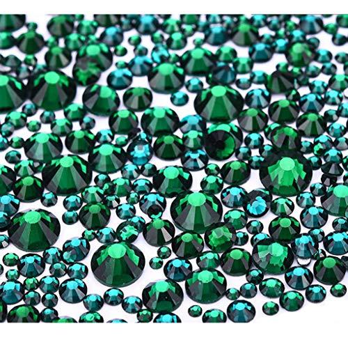 Jollin 3456 Piezas del Strass Abalorios Cristal Vidrio pedrería Espalda Planas Gemas Diamantes Para Uñas Arte 6 Tamaño S4~S12, Verde oscuro