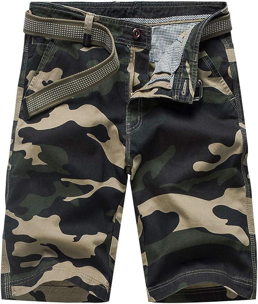 MODOQO Men's Cargo Shorts, Work Casual Summer Regular Fit Multi-Pocket Lightweight Trouser Pants