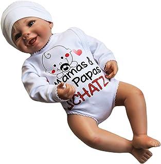 MEA BABY Unisex Baby Wickelbody mit Spruch Mamas & Papas Schatz, 100% Baumwolle, Baby Body weiß für Mädchen, Baby Body Weiss für Jungen.